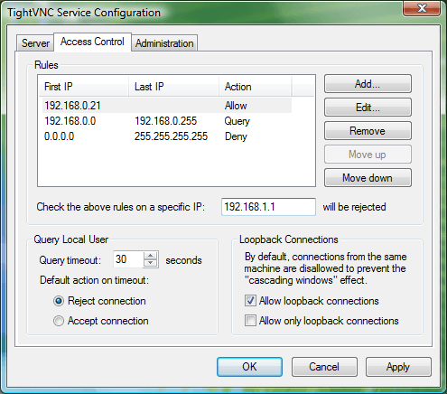 TINY VNC accesscontrol