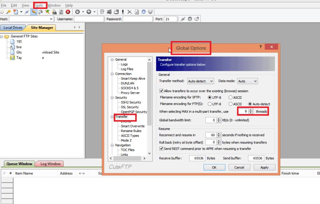 cuteftp fast speed seedbox file transfer 5