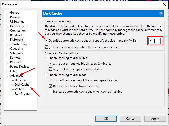 utorrent default settings